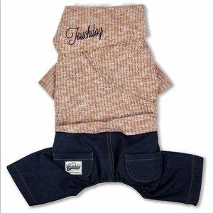 Touchdog Vogue Neck-Wrap Sweater&Denim Pant Outfit